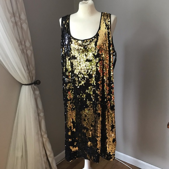 37fa715b0f6 NWT Calvin Klein gold holiday sequin dress
